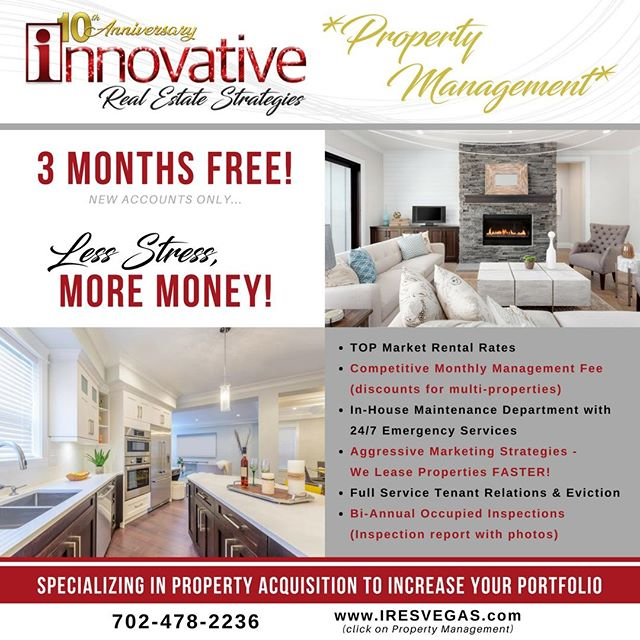 Investors and Owners, this is for you! If you are interested in selling your property or properties, we are the best choice for you. We are a full service property management brokerage with a team of professionals that will serve you in excellence. Call our Property Management division today at 702-478-2236. • • • • • • #propertymanagement #forlease #forrent #realestate #brokerage #IRESVegas #BrandyWhiteElk #topagent #lasvegasrealestate #vegasrealtors #hud #broker #vegashomes #summerlinlv #homesweethome #hendersonnevada #lasvegas #buyahouse #sellyourhouse #vegasparents #centennialhills #centennialhillslv #downtownsummerlin #summerlinsouth #summerlin