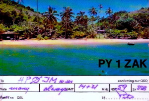 """Peter's """"business"""" card post card, with his ham radio call sign"""