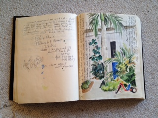 Original artwork in our logbook by artist Susan Martin, Florida