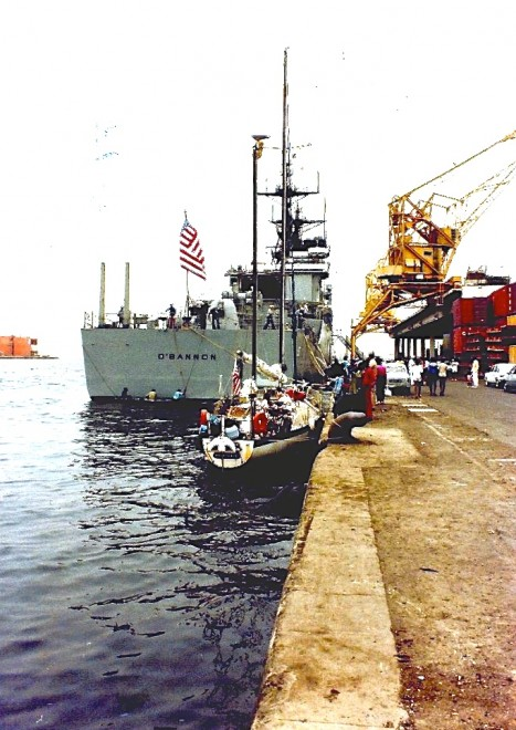 Dakar wharfside, under the protection of the U.S.S. O'Bannon