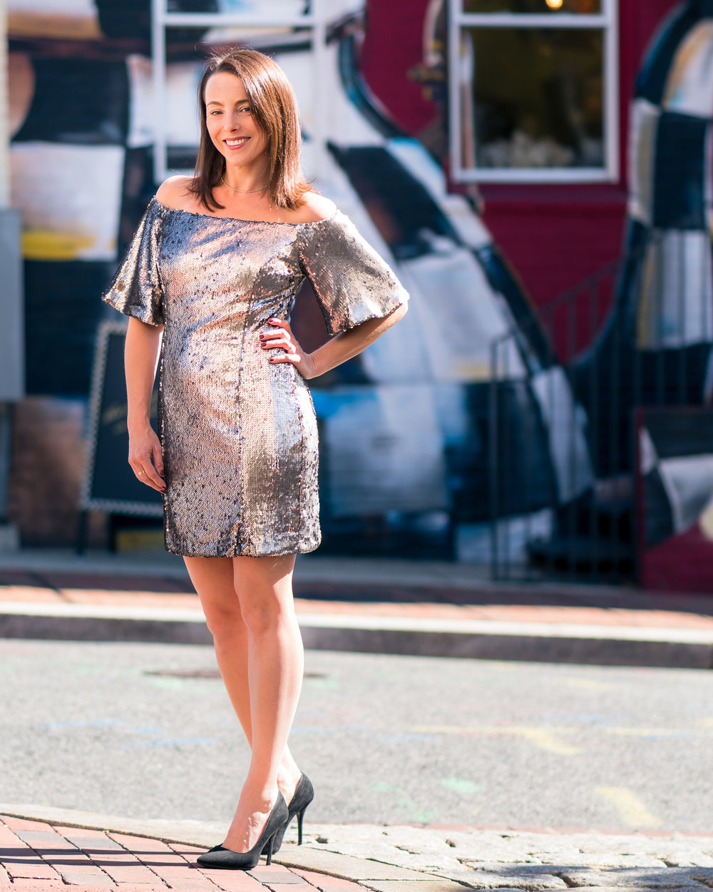 Metallic off-the-shoulder dress, Violet Boutique