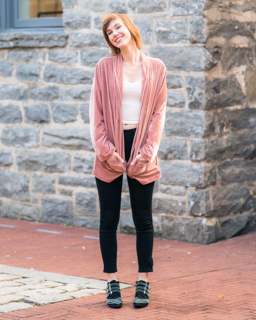 pink velvet jacket