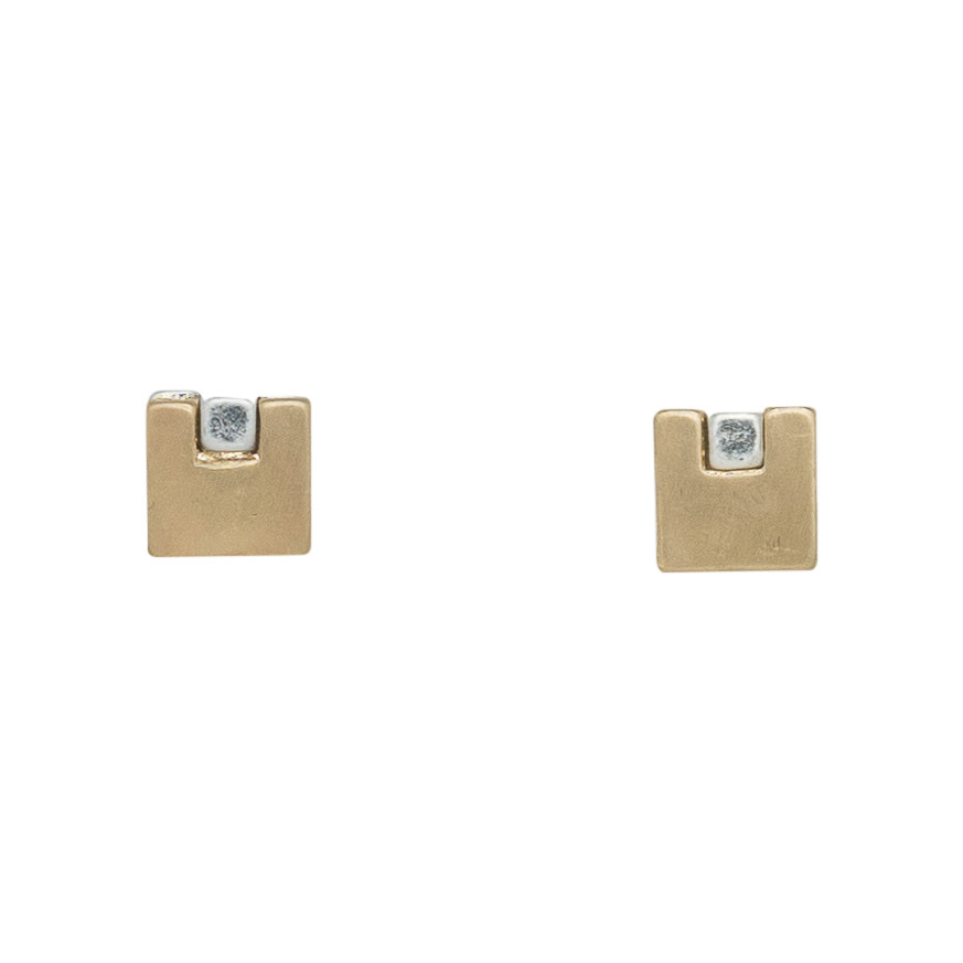Double Square Post Earrings, $10