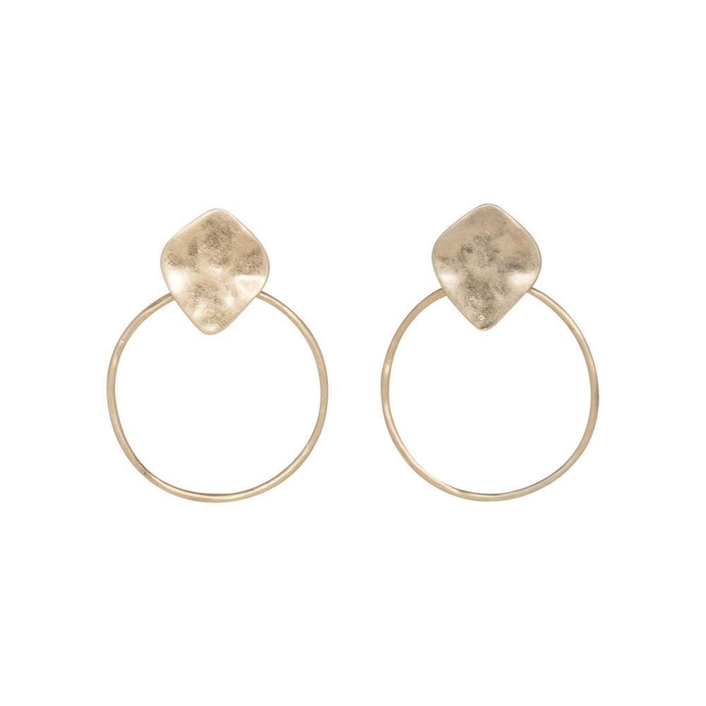 Hammered Top Circle Earrings, $10
