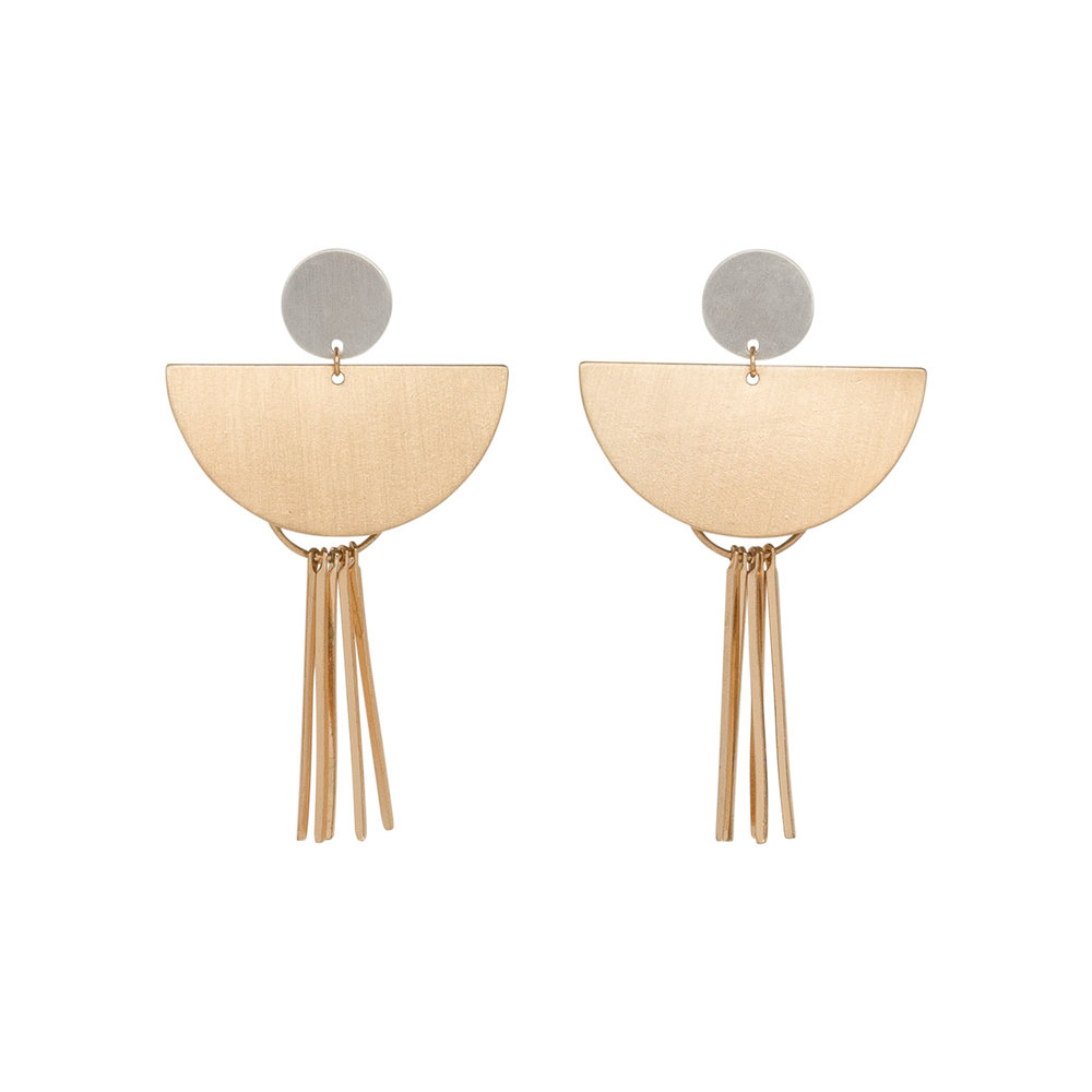 Gold Geometric Stack Earrings, $17