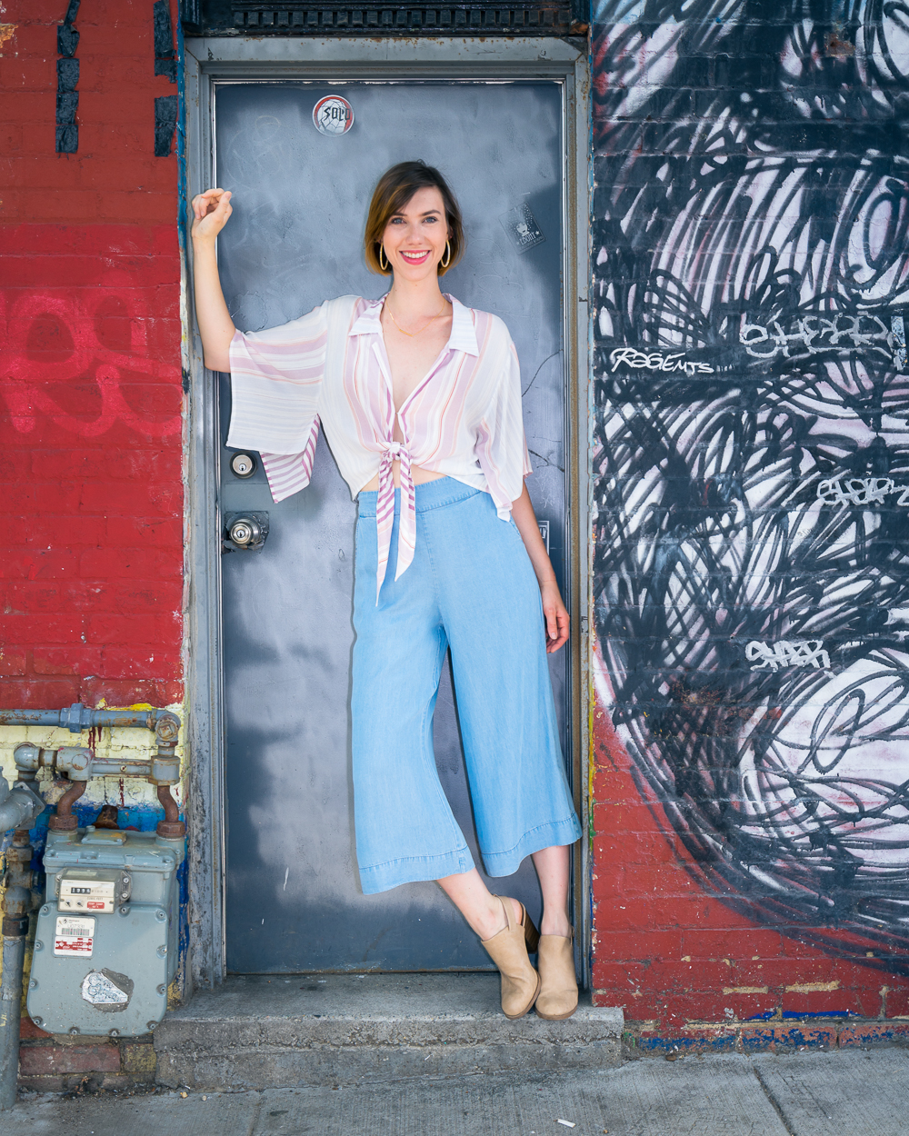 On Claire: Striped Tie Top ($49.50), Blue Culottes ($52.50)