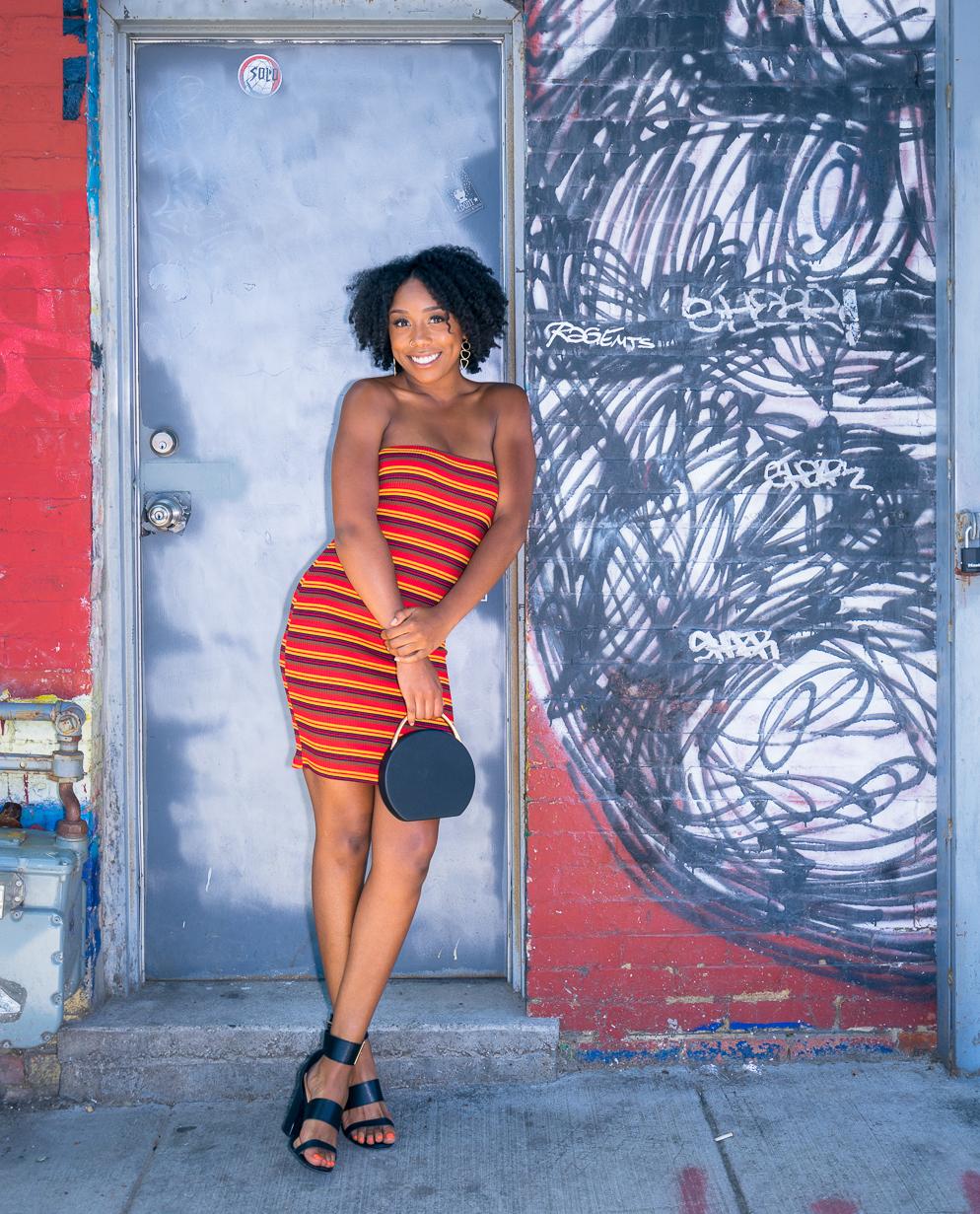 On Kandace: Striped Dress ($46.50)