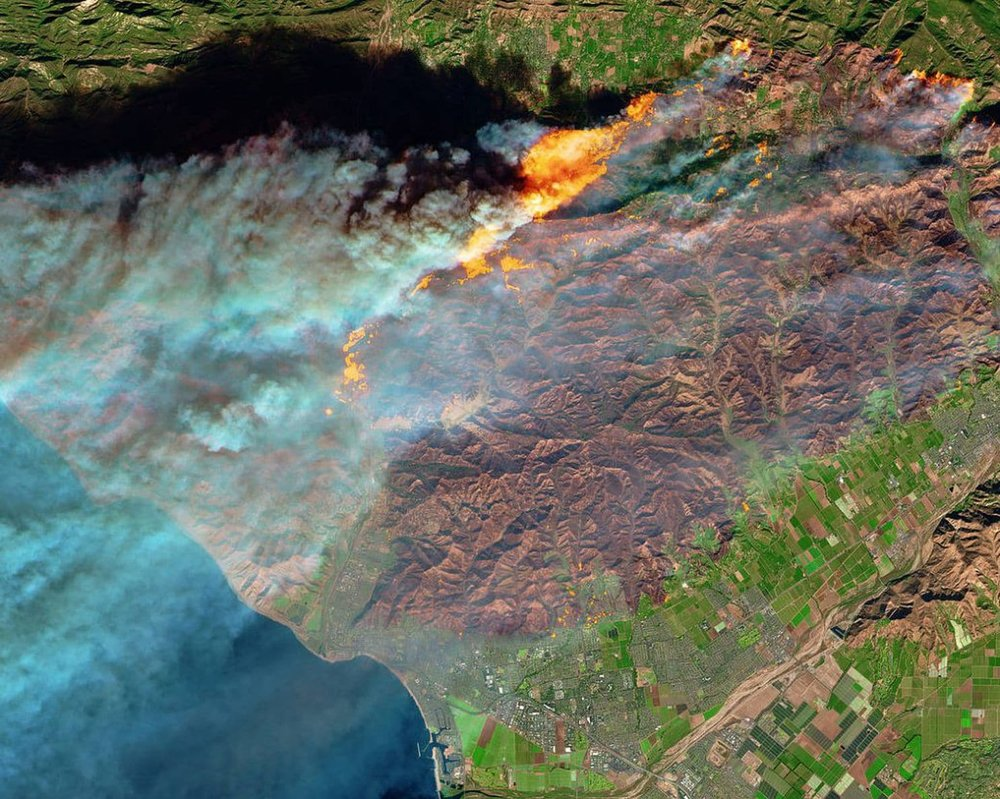 Satellite view of the active fire in California.