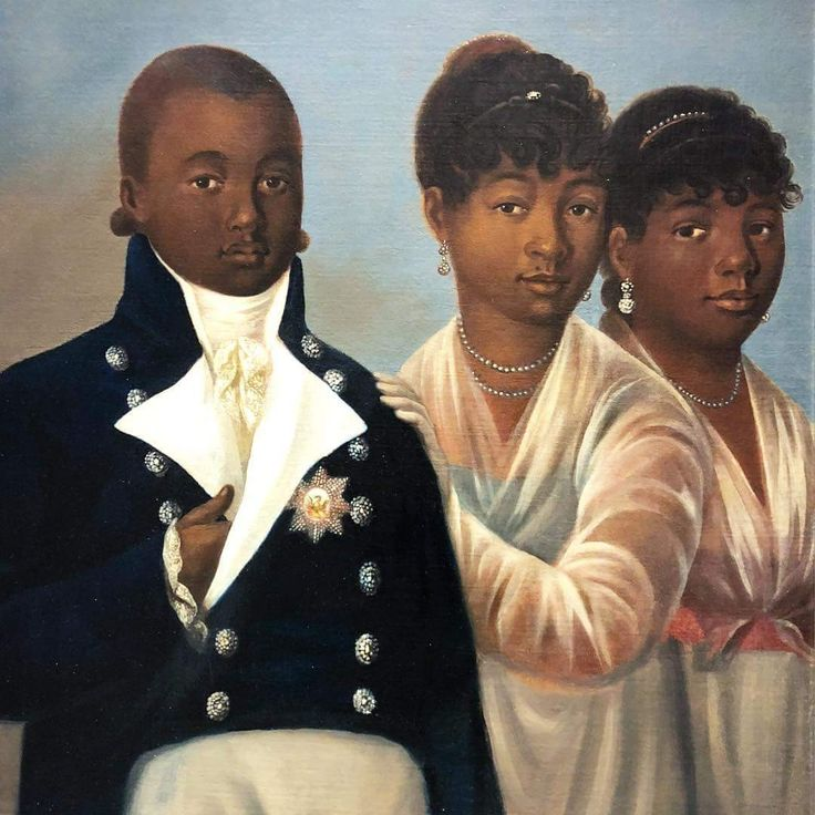 A 19th century portrait of The Prince Royal of Haiti and the two surviving daughters of the late King Henri I, to be put on auction this Spring. (Credit: Twitter.)