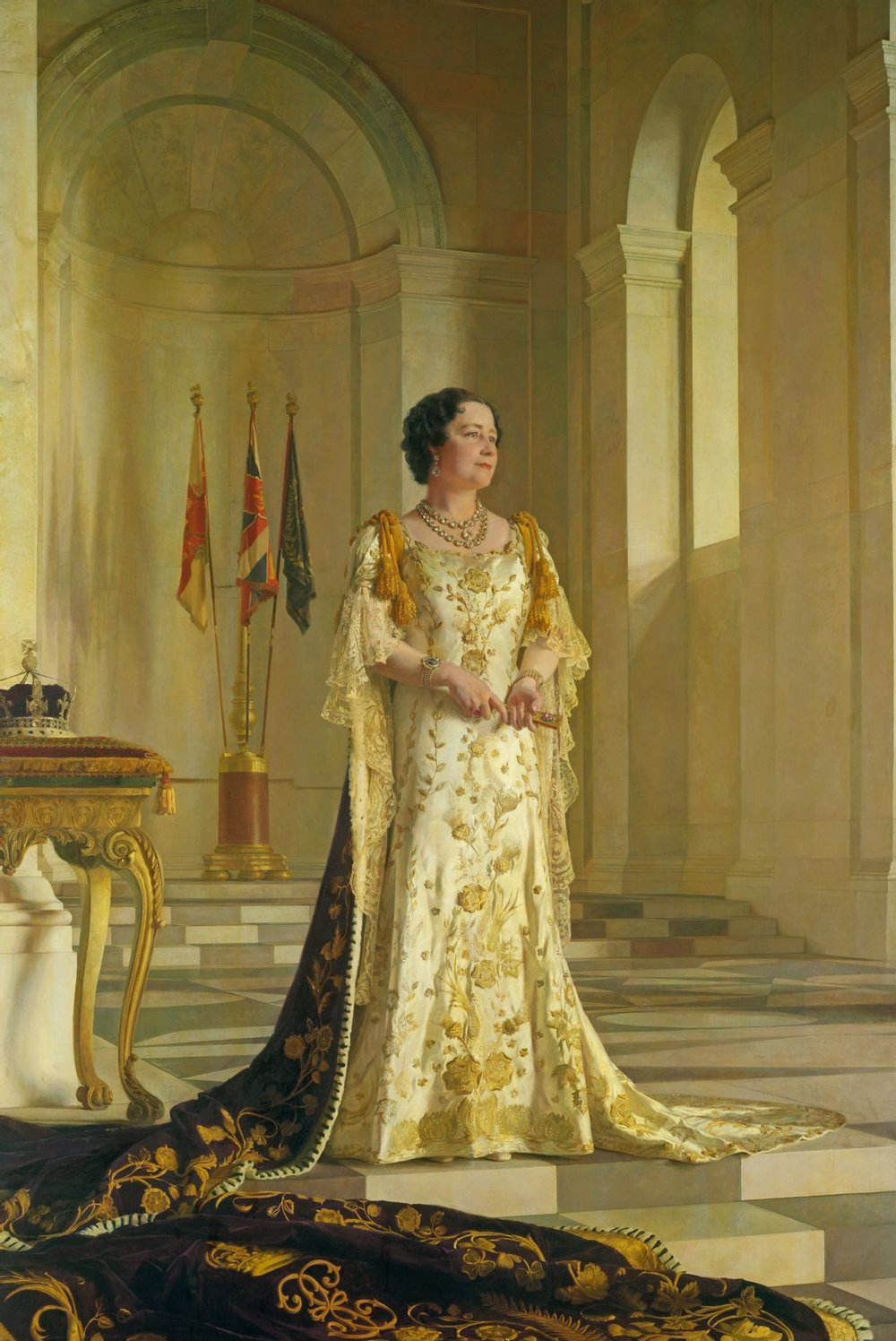 Don't let the delicate nature of this portrait fool you - Queen Elizabeth was a force to be reckoned with. (Sir Gerard Kelly, c. 1936-1945, Public Domain.)