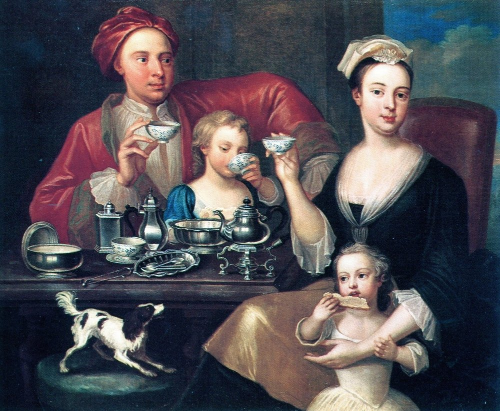 Van Acken's  An English Tea Party  shows a family enjoying the tea ritual. Though parents and children are all shown together, Mother's central role in tea ritual is shown in her primary figure in the portrait.