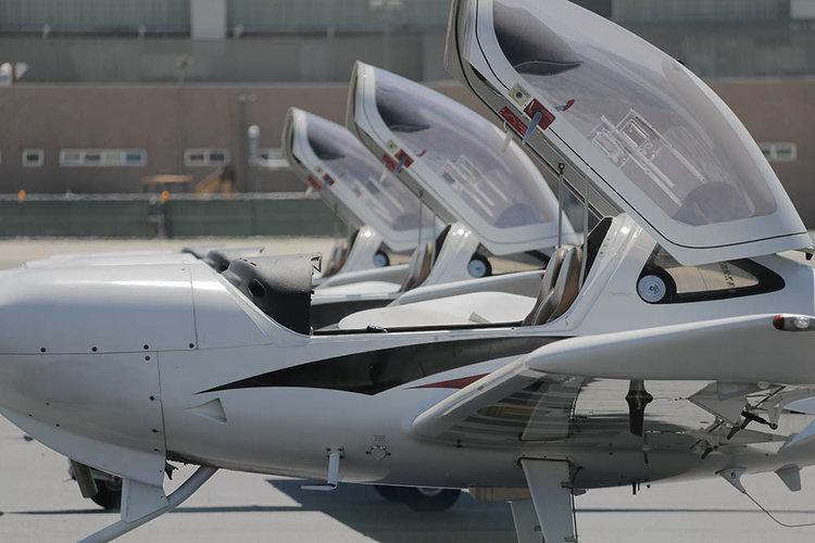 Pilot In A Diamond Da20 Aircraft