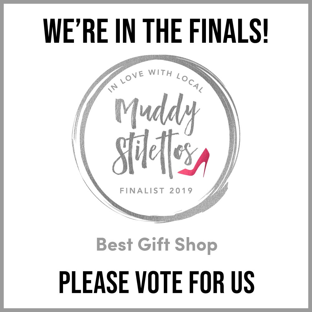 We need your votes! - For a third year in a row we have reached the finals of the Muddy Stilettos awards making us one of the top 5 gift shops in Gloucestershire. But now we need your vote to win! These awards are all down to people power and its your vote that makes a real difference to Indie retailers everywhere! Please click on the image to follow the link or copy and paste link below. Vote MOOT for best gift shop. Thank you.https://glos.muddystilettos.co.uk/awards/