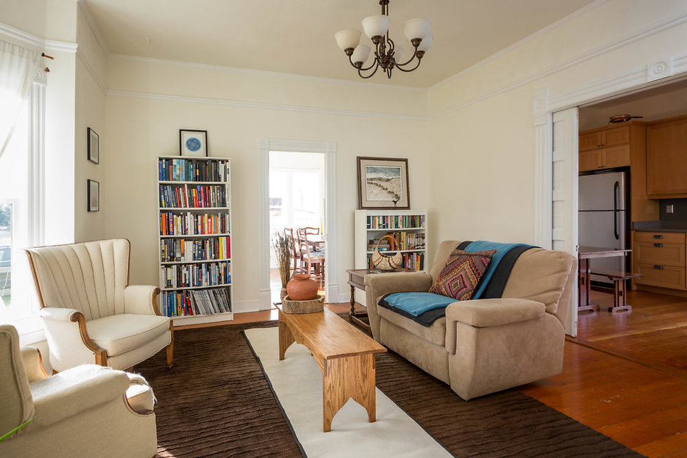 The living room is accessible from either the kitchen or the dining room...