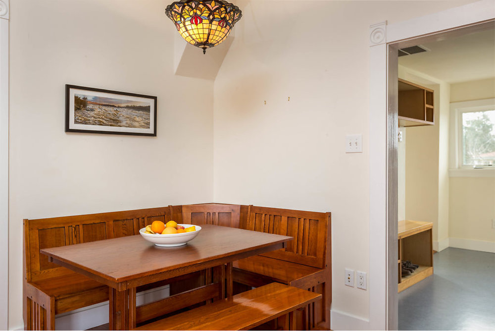 Not only is the kitchen capacious as well as cozy, but there's also a built-in breakfast nook!