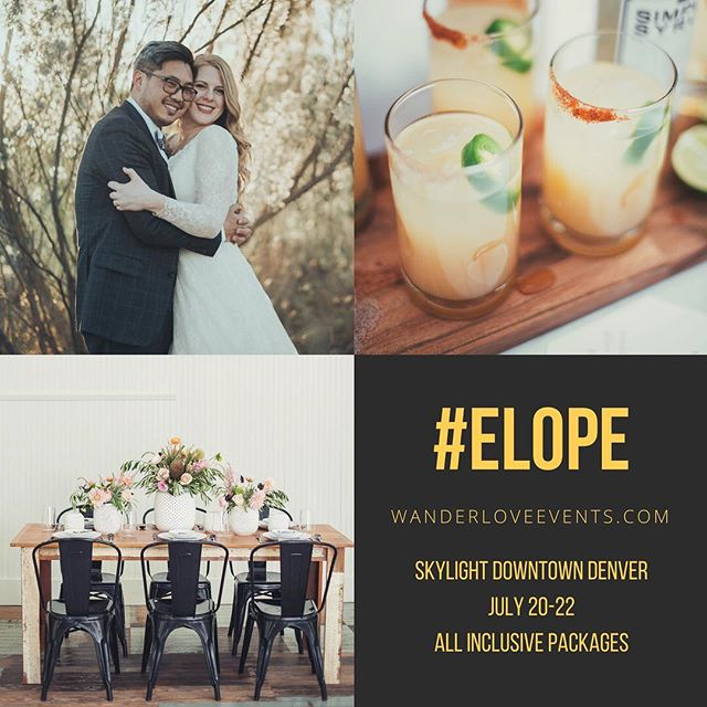 Summer is quickly approaching.  It's not too late to plan an amazing elopement.  Booking a few more spots for the all inclusive, Popup weddings JULY 20-22 @skylight.828 Denver CO #elope #elopementpackages #denver #denvercolorado #coloradowedding #summerwedding #easyweddings