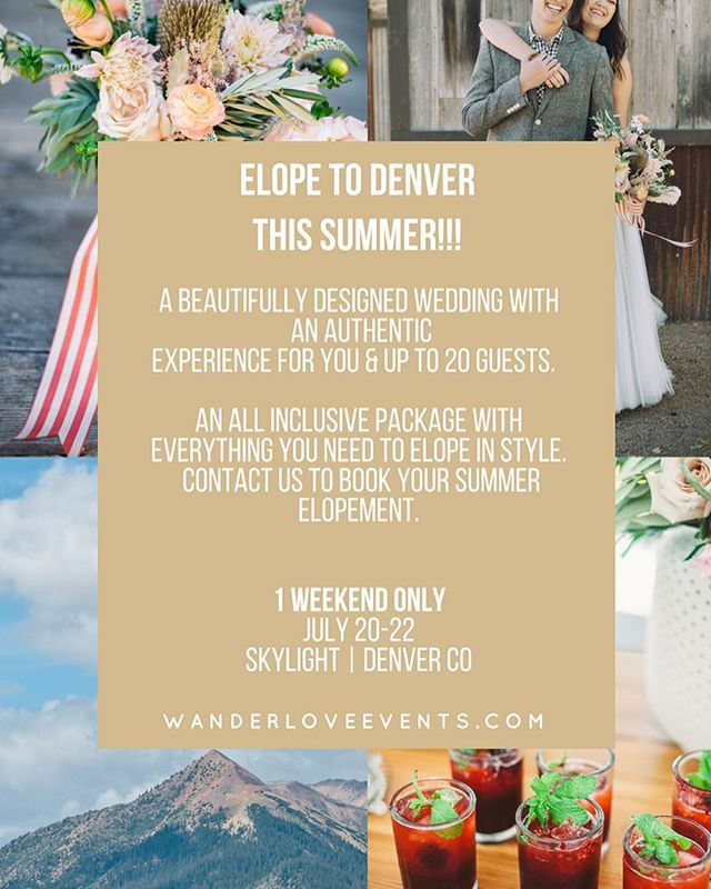 We have created an authentic inclusive experience for couples and their guests.  Be adventurous.  Be spontaneous. Be married in Denver this summer.  Contact us today for this 1 WEEKEND ONLY opportunity #elopement #elopementwedding #elope #elopementphotographer #allinclusive  #coloradowedding #denver #summertime  @skylight.828 @heypartycollective @weplusyou @ninephotography