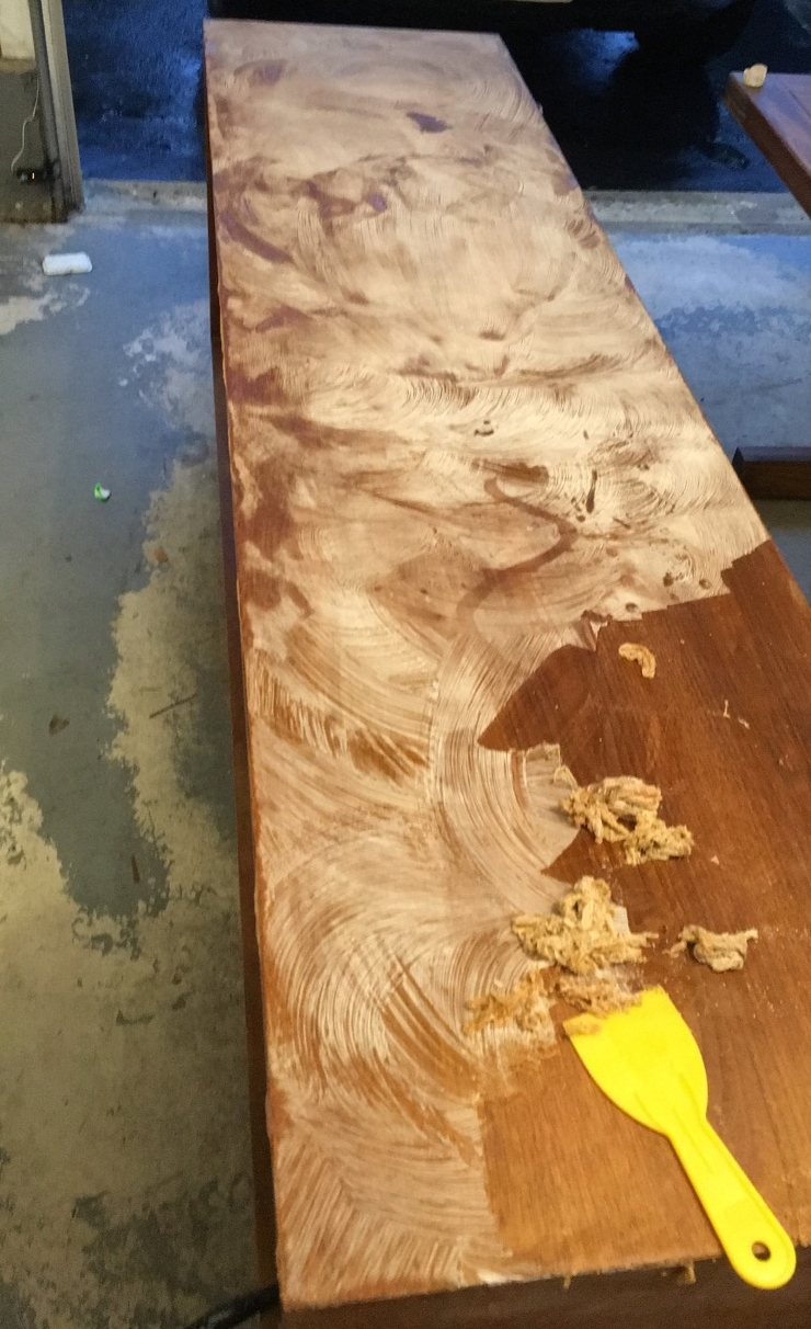Restoration Tip #1 - Knowing that the dresser had wood veneer we chose to use a stripping agent rather than the usual choice of a sander. This allows you a bit more control with the stripping process and helps avoid accidentally removing the veneer.