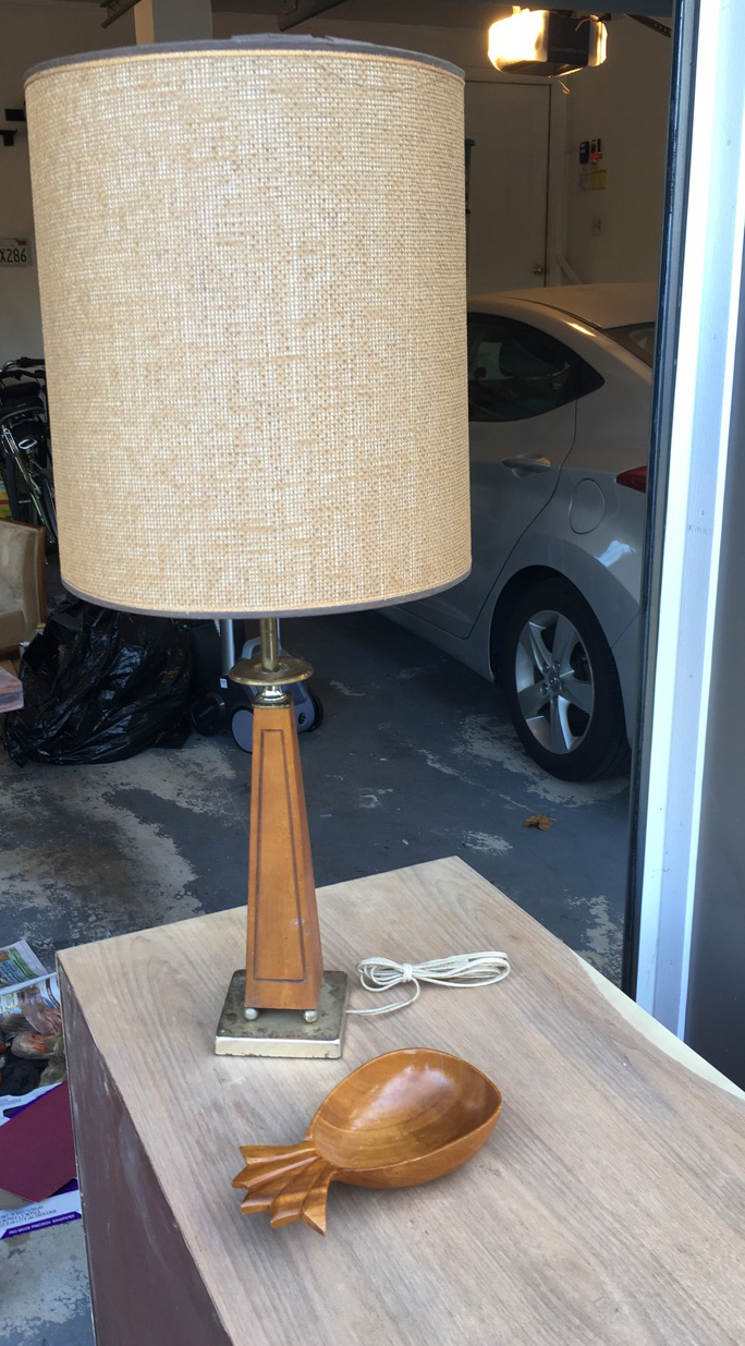 Finally I came across this mid century lamp ($10) and fun wooden pineapple ($3)