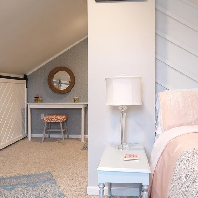 Check out our attic bedroom transformation blog post on our website! #atticbedroom #atticdesign #attictransformation