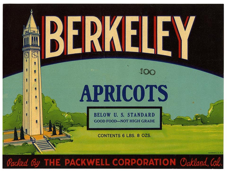 Apricots label, Berkeley Brand