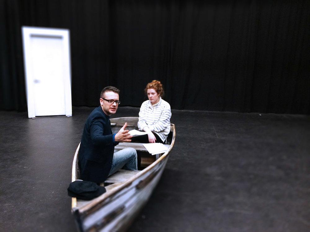 Rehearsal Photo of  Drifting   L-R: Simon MacIntyre and Taylor Scott