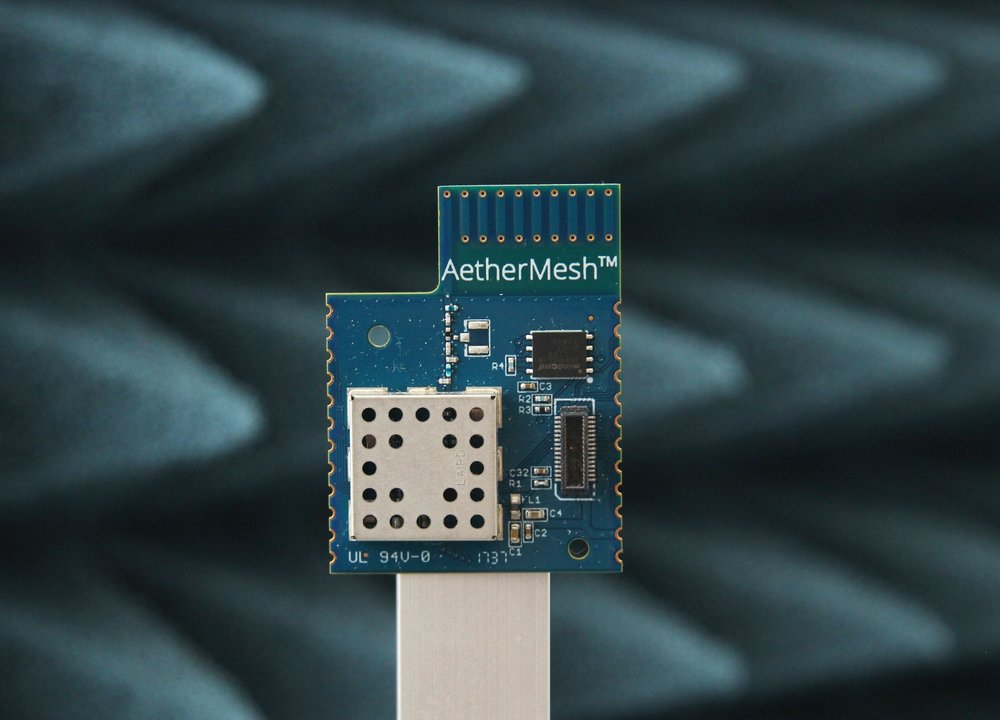 AetherMesh wireless module used in GrowFlux lighting and sensing products