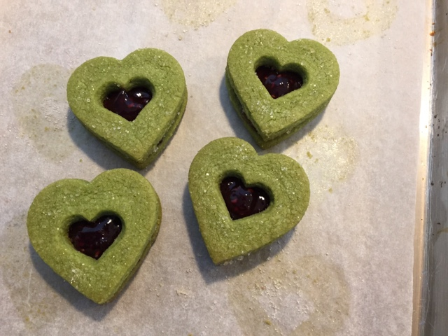 Matcha raspberry hearts