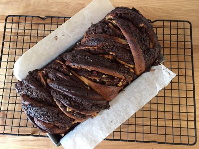 Chocolate pecan babka