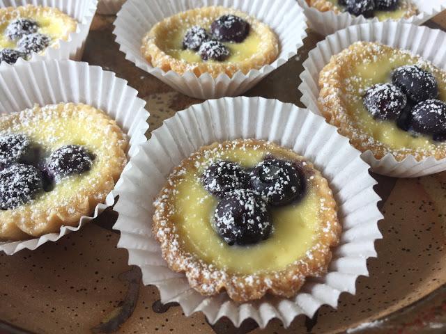 petits fours  blueberry custard