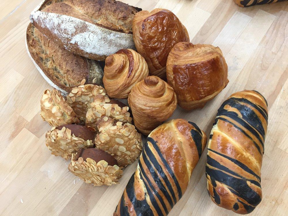 day 4:  bostock, pain de mie zébré, croissant, pain au chocolat, pain de campagne