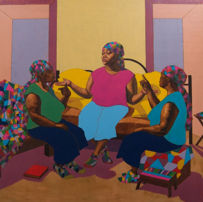 "JA'RIE D. GRAY - Image Credit: Ja'Rie Gray (US, b. 1982) A Conversation with the Three of Me, 2015. Oil on canvas, 48""x48"". Courtesy of the Artist"