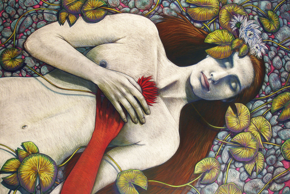 Judithe Hernández (US, b. 1948)    The Birth of Eve / El nacimiento de Eva  (The Adam & Eve Series), 2010. Pastel on paper, 30 x 44 inches