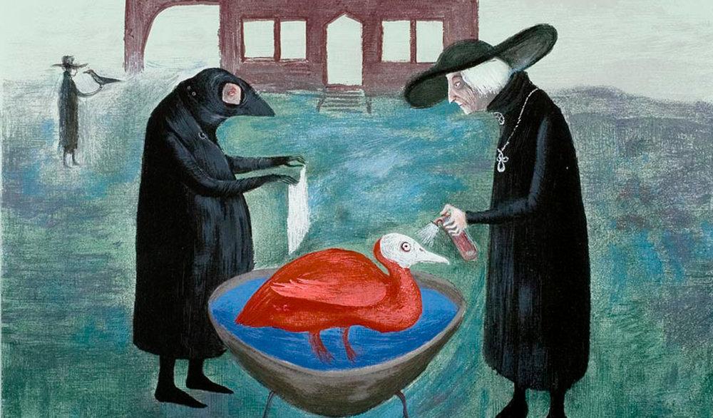 Leonora Carrington (England,1917–2011).  Bird Bath/Baño de pajaros , 1974. Color serigraph on paper, ed. 13/50. Robert Gumbiner Foundation Collection.
