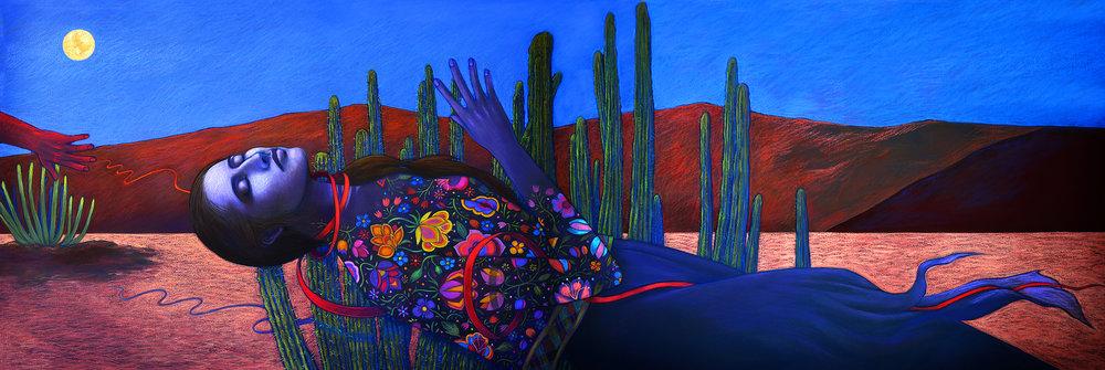 - Judithe Hernández(U.S., b. 1948)La Santa Desconocida de la serie Juárez / The Unknown Saint from the Juarez series, 2017.Pastel on paper / Pastel sobre papel. 30 x 88 inches / pulgadas. Courtesy of the artist / Cortesía de la artista.Download (JPG)