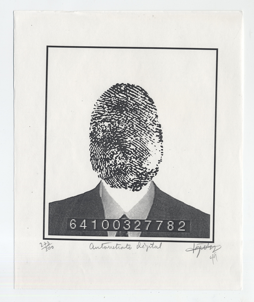 Lázaro Saavedra González  (Cuba, b. 1964),  Autorretrato Digital , n.d., Photo screen print on paper, ed. 273/300, 10 x 8 ¼ inches. Gift of Darrel Couturier
