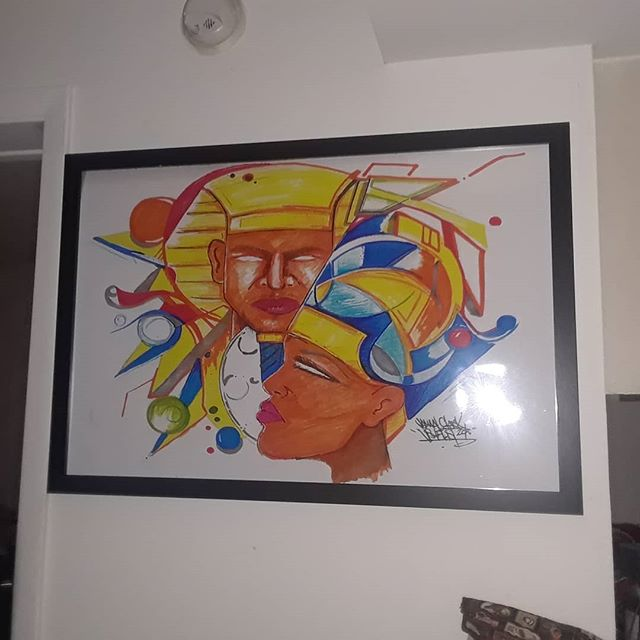 "Peace to @negasidamba & @puretropicsllc Who purchased a @visualistart ""Vivid Traces"" piece for their home. Thank you for your support King&Queen!!! Peace & Love  #Visualistart #kingzandqueenz #vividtraces #art #artwork #visualist #Visualistdesign"
