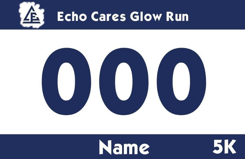 Race Bib example designed for Camp Echo 5K  Example of a race bib designed by myself using InDesign software. Each camper was given a personalized race bib with their name and unique number.
