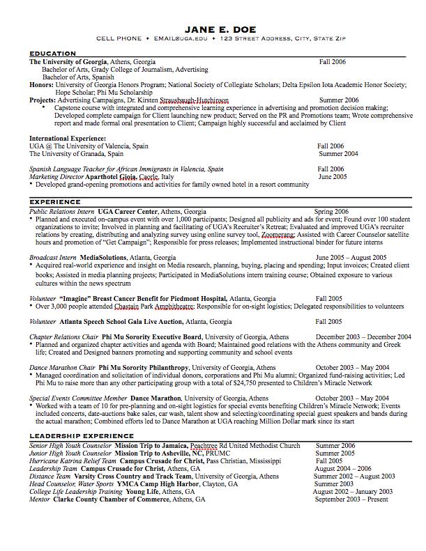 Resume Examples University Of Georgia Adclub