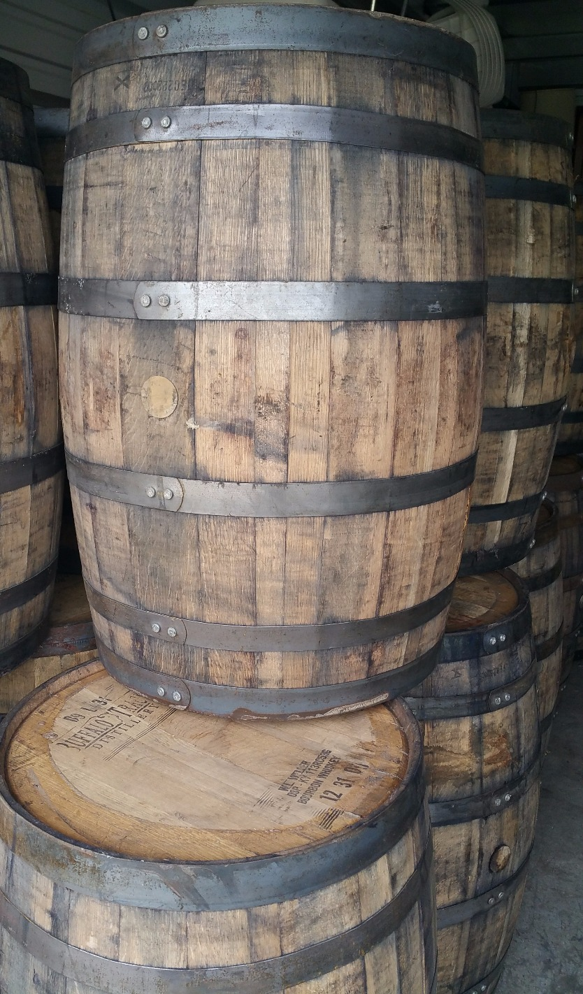 - once-used, fresh-dumped kentucky bourbon barrel