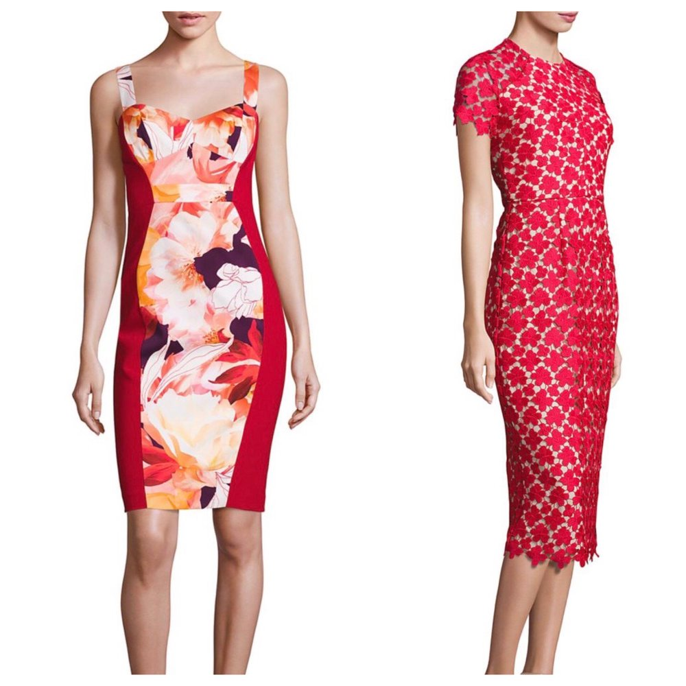These dresses have gorgeous red accents.