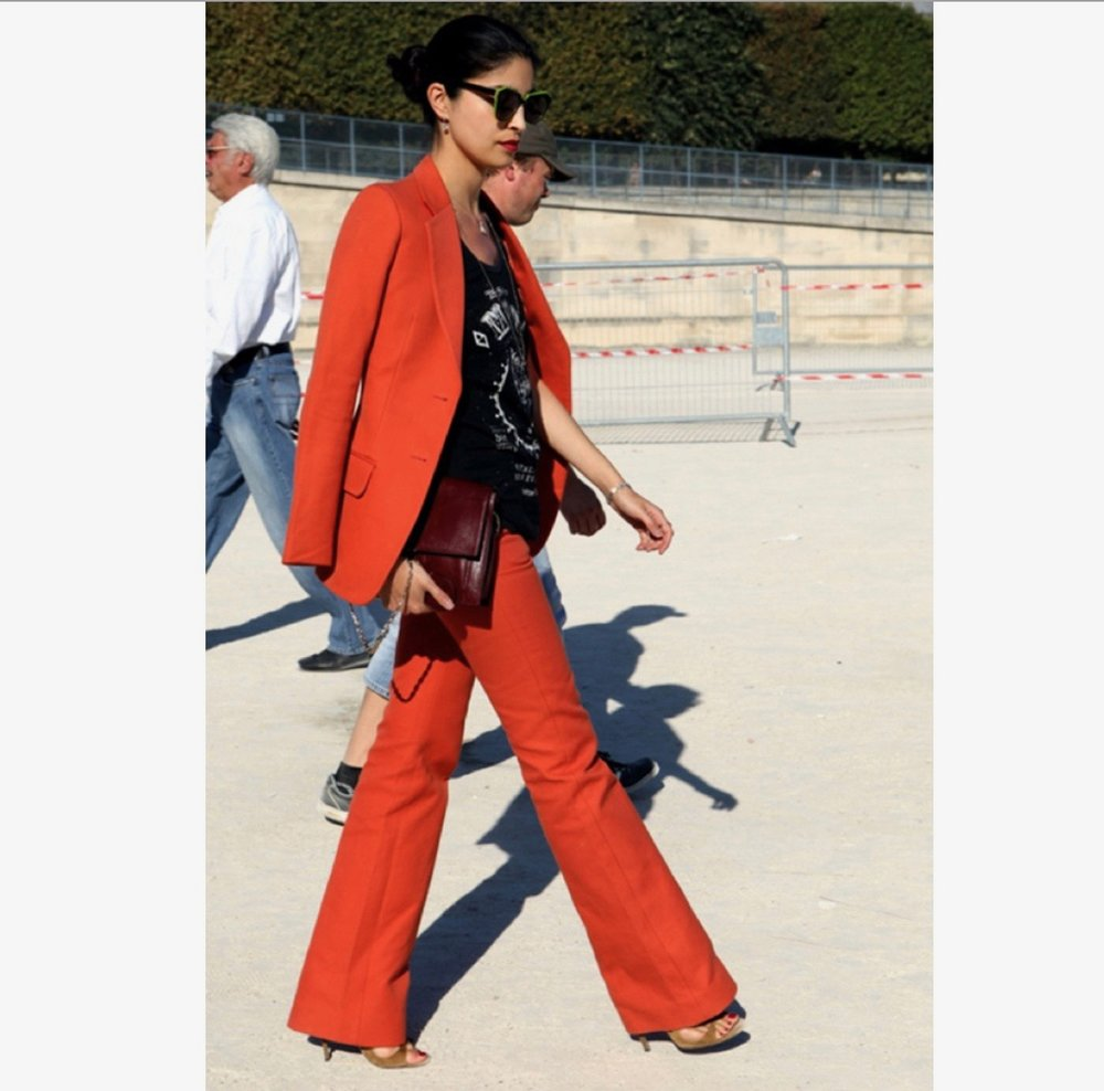 The always chic Caroline Issa in her red pantsuit.