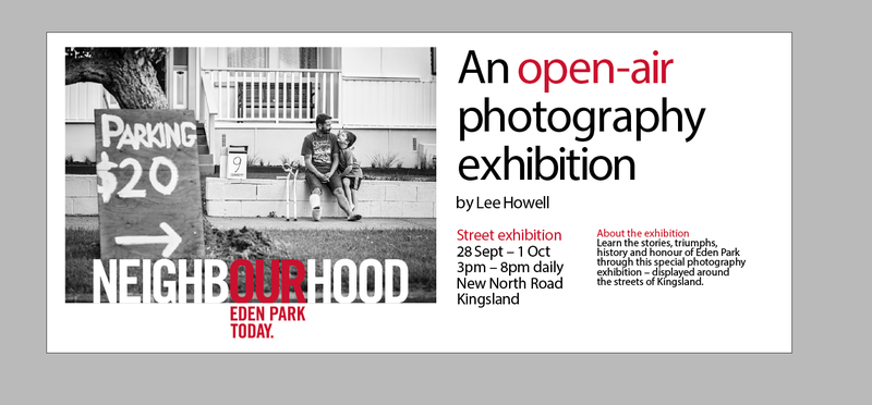 Flyer for Lee Howell's 'Our Neighbourhood' exhibition in Kingsland