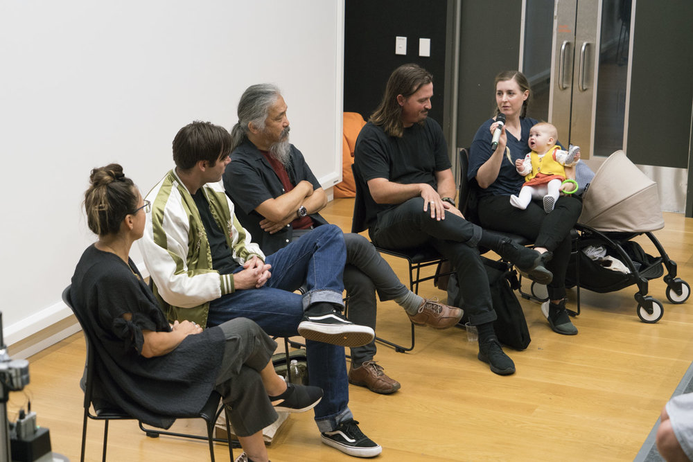 Panel discussion 'Is there anybody out there? - How we connect readers and photobooks: a discussion of markets/readership', Photobook/NZ 2018, Massey University Wellington, 11 March 2018. Panel left to right: Becky Nunes (chair), Harry Culy (Bad News Books), Haru Sameshima (Rim Books), Dan Rule and Justine Ellis (Perimeter Books).