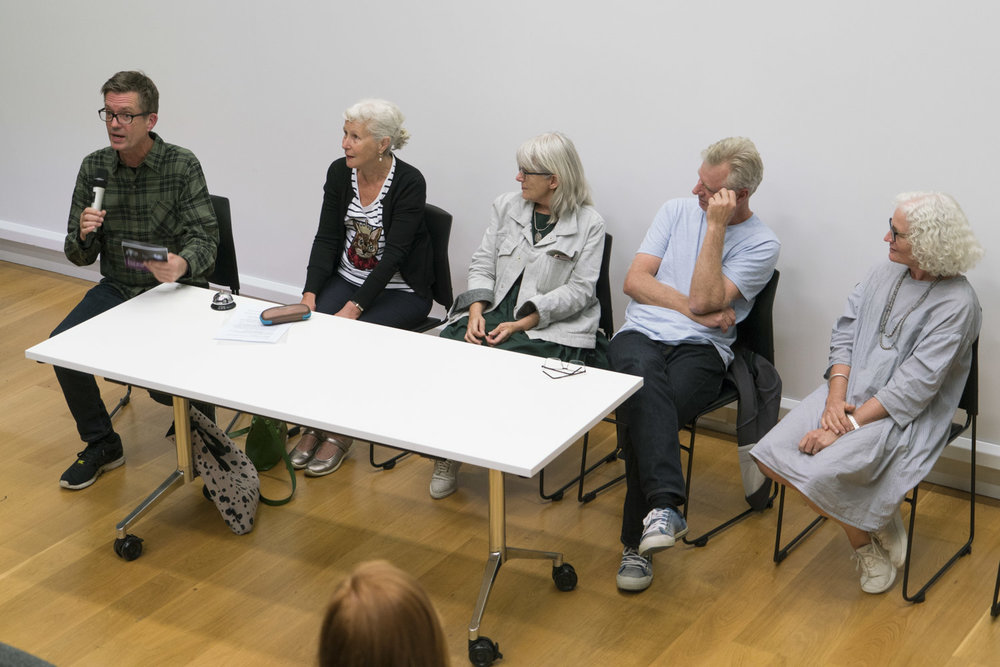 The Photobook/NZ organising committee: David Cook, Mary Macpherson, Anne Noble, John Pennington, Gabrielle McKone. Photobook/NZ 2018, Massey University Wellington, 11 March 2018.