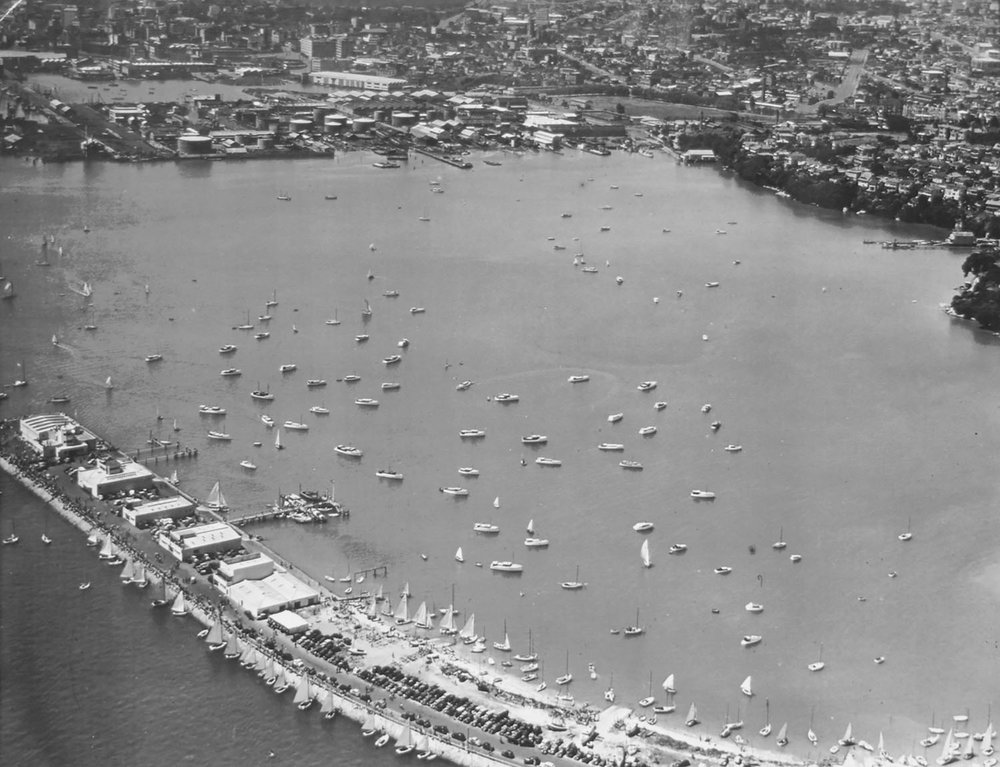 Aerial shot of Westhaven Marina. Date and photographer unknown. Credit : Royal New Zealand Yacht Squadron.