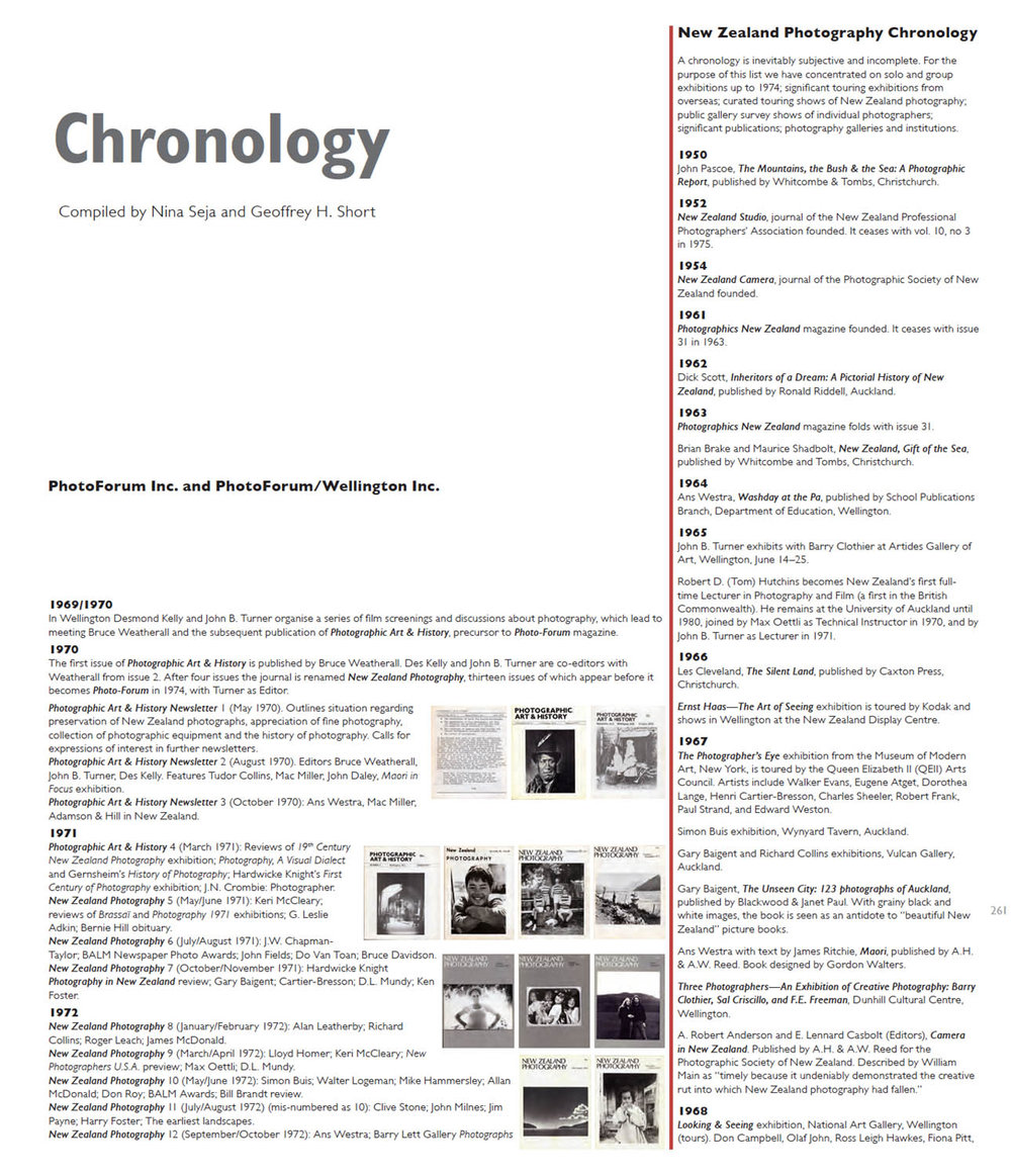 Click on image for PDF of the chronology extracted from  PhotoForum at 40.
