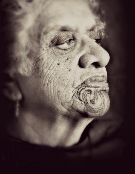 Image: Kiri Riwai-Couch, Nanny Angie, 2014. B/W photograph.