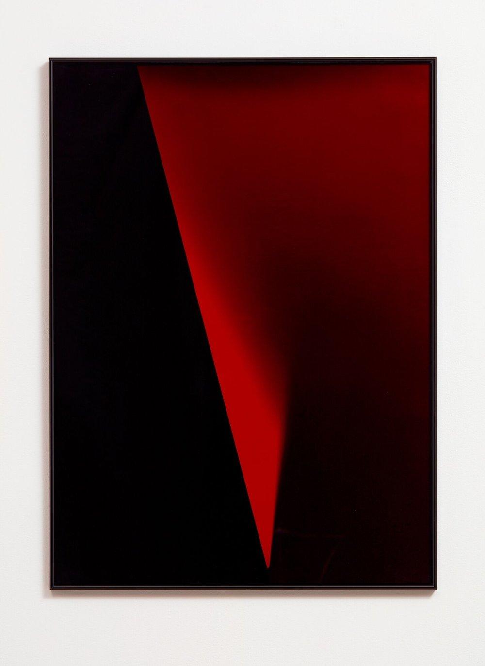 Edge, 2018  Acrylic, enamel, silver gelatin print, museum glass in artist frame  800mm x 1100mm