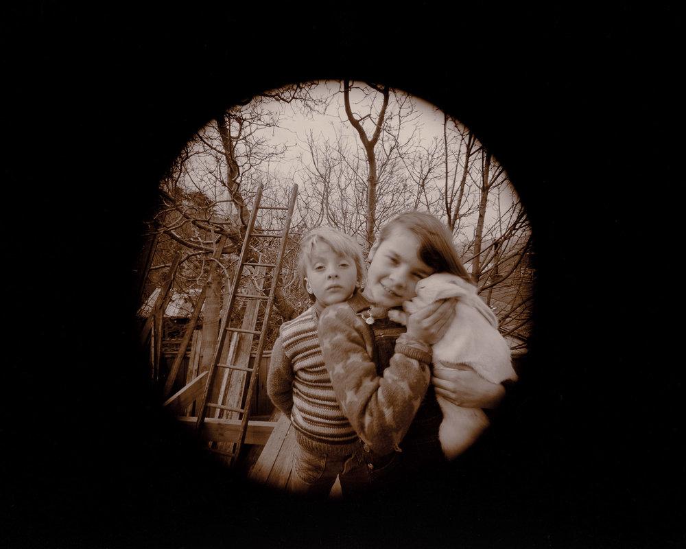 Laurence Aberhart.  Charlotte, Kamala and Popcorn, Lyttelton , 1981.